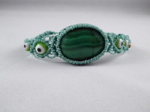bracelet macramé bleu malachite