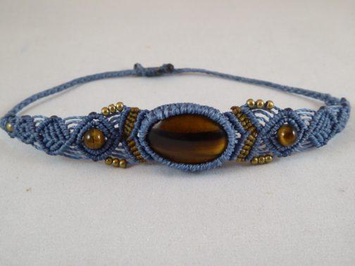 bracelet macramé bleu oeil-de-tigre