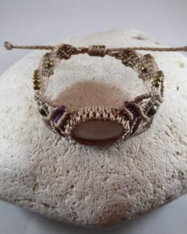 Bracelet Macramé Taupe Quartz Rose