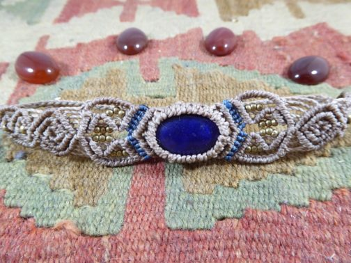 bracelet macramé taupe lapis lazuli