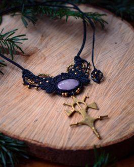 Collier macramé noir quartz rose croix touareg Nennvial