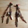 boucles pendantes cuir bronze améthyste