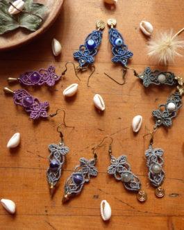 Boucles pendantes macramé pierre fine Papyon