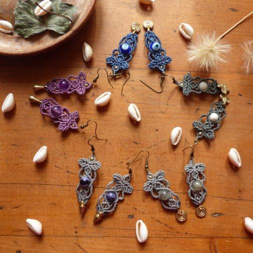 Boucles pendantes macramé pierre fine