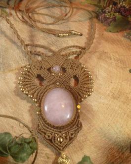 collier macramé marron quartz rose