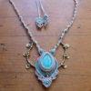 collier macramé blanc turquoise