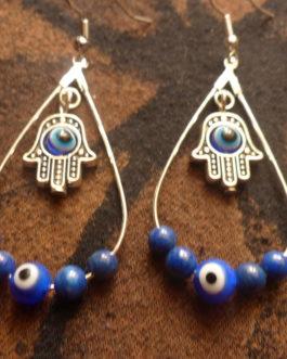 Gouttes main de fatma, mauvais oeil et lapis lazuli