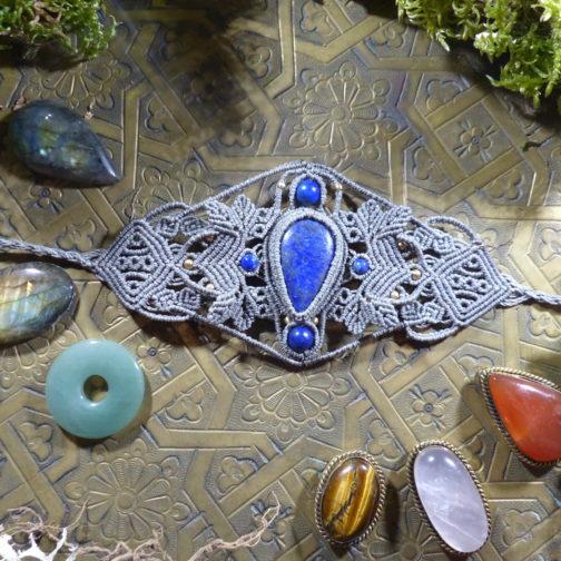 Manchette macramé gris vert lapis-lazuli