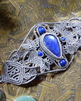 Manchette macramé gris vert lapis-lazuli Anaba