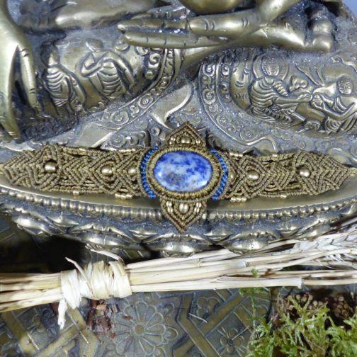 Bracelet macramé marron jaspe blue spot