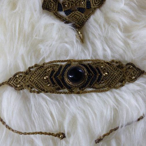 bracelet macramé marron et noir onyx