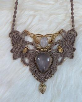 collier macramé sable quartz rose Lutha-Mîl