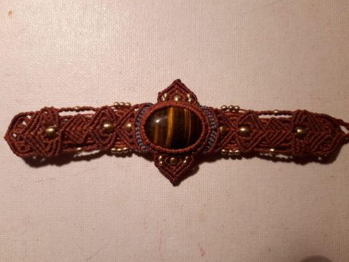 bracelet macramé rouge œil-de-tigre