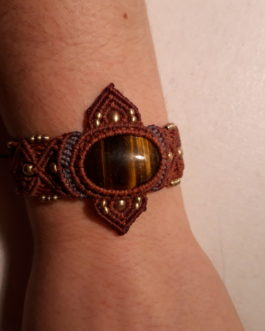 Bracelet macramé rouge œil-de-tigre EnoraPointes