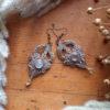 boucles macramé sable quartz rose