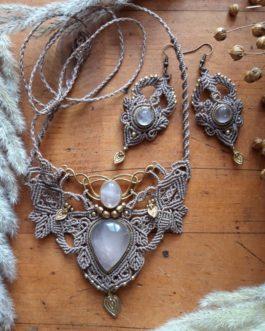 Boucles macramé sable quartz rose Büyülü-Aşk