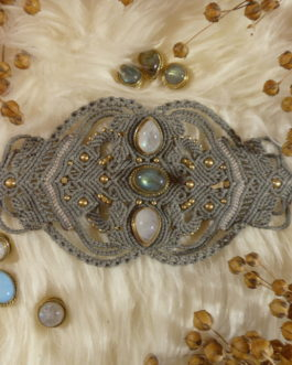 Bracelet manchette macramé vert-gris labradorite pierre de lune Yepa