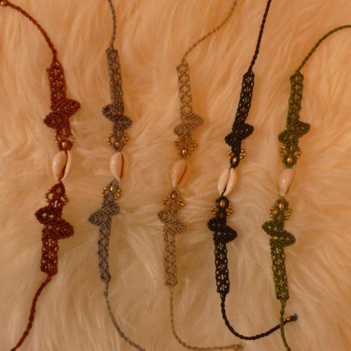 bracelets macramé cauris