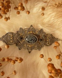 Bracelet manchette macramé gris obsidienne mouchetée