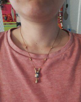 collier minimaliste perle péruvienne laiton