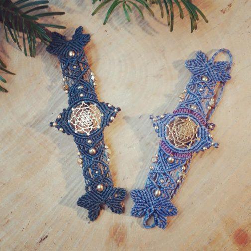Bracelets macramé sri yantra bleu