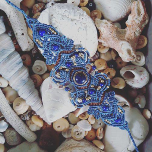 Bracelet macramé bleu lapis-lazuli