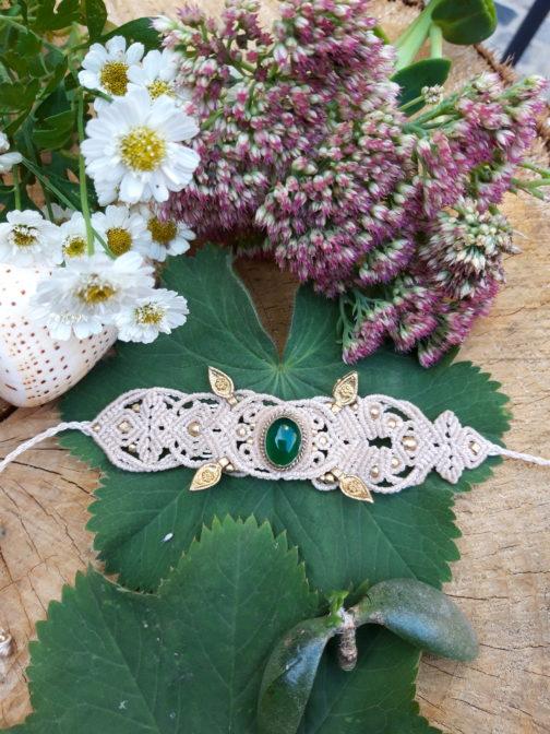 Bracelet macramé agathe verte blanc