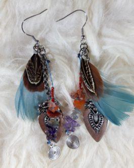 Boucles d'oreilles plume pierres argentées
