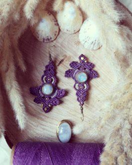 Boucles pierre de lune violettes