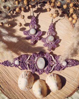 Bracelet pierre de lune violet